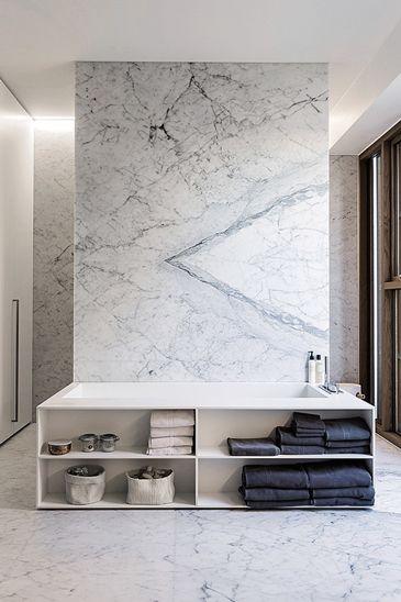 BAKS ARKITEKTER - bathroom, Denmark. Nordic architecture, house, design, scandinavian, texture, marble, bath tub, shower, minimalistic