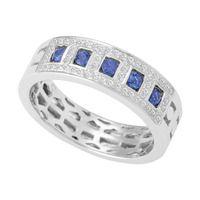 Micro Pave Diamond Dress Ring with Blue Sapphire