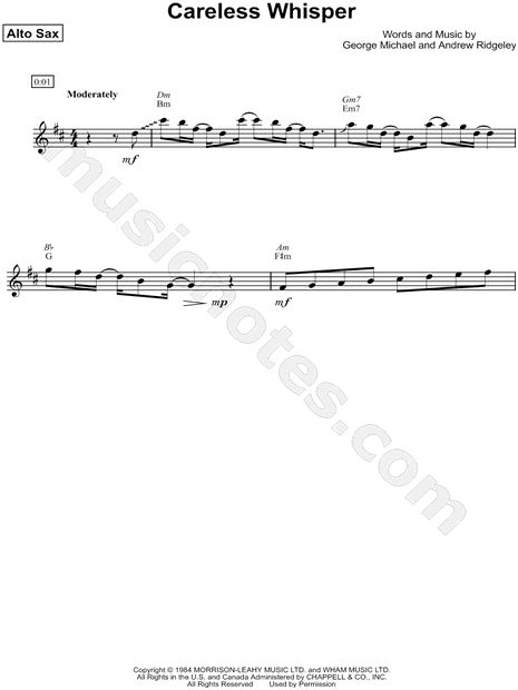 "Wham! ""Careless Whisper"" Sheet Music (Alto Saxophone Solo) - Download & Print"