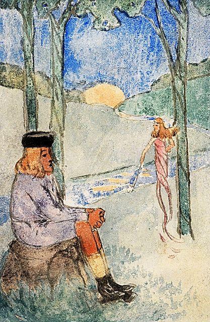 漱石による水彩画(1905年ころ、野間真綱旧蔵)。右奥の人物がユリの花を持っているようにも見える=神奈川近代文学館蔵
