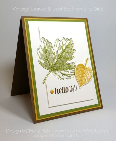 clearance sterling silver jewelry Clean  amp  simple combination of Vintage Leaves  amp  Leaflets Framelits Dies for a autumn or fall card   Designed by Mary Fish  Independent Stampin   Up  Demonstrator  Details  supply list and more card ideas on http   stampinpretty com 2015 10 stampin up vintage leaves for fall html