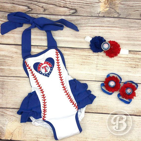 Tx Rangers Baby Girl Romper Texas Rangers Baby Clothes Etsy Cubs Baby Clothes Girls Rompers Cute Outfits For Kids