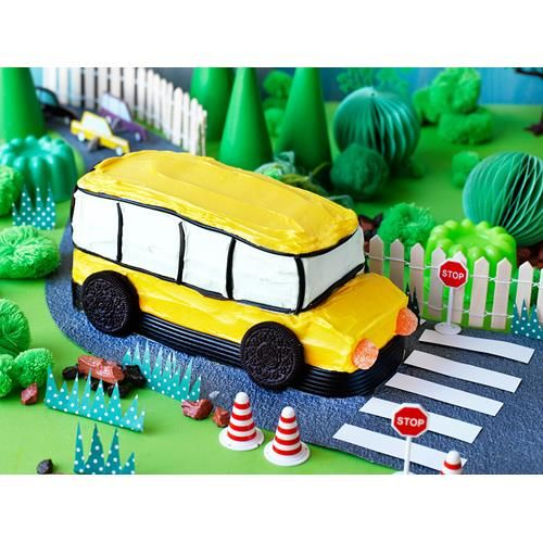 Big yellow bus birthday cake recipe - By Australian Women's Weekly, Wheels on the bus go round and round! This yellow bus birthday cake is perfect for little toy car enthusiasts. Honk honk!