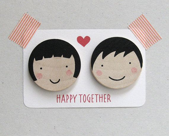 Valentine's Day  Happy Together brooch  Valentine special by olula, $21.00