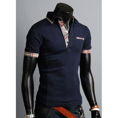 Fashion Style Turn-down Collar Slimming Color Block Plaid Splicing Simple Design Short Sleeves Men's Polyester Polo Shirt-17.48 and Free Shipping| GearBest.com