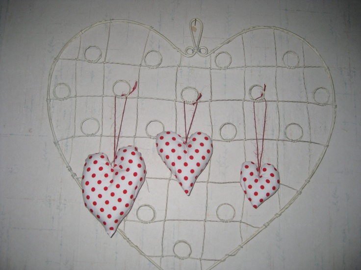 Three fabric red polka hearts