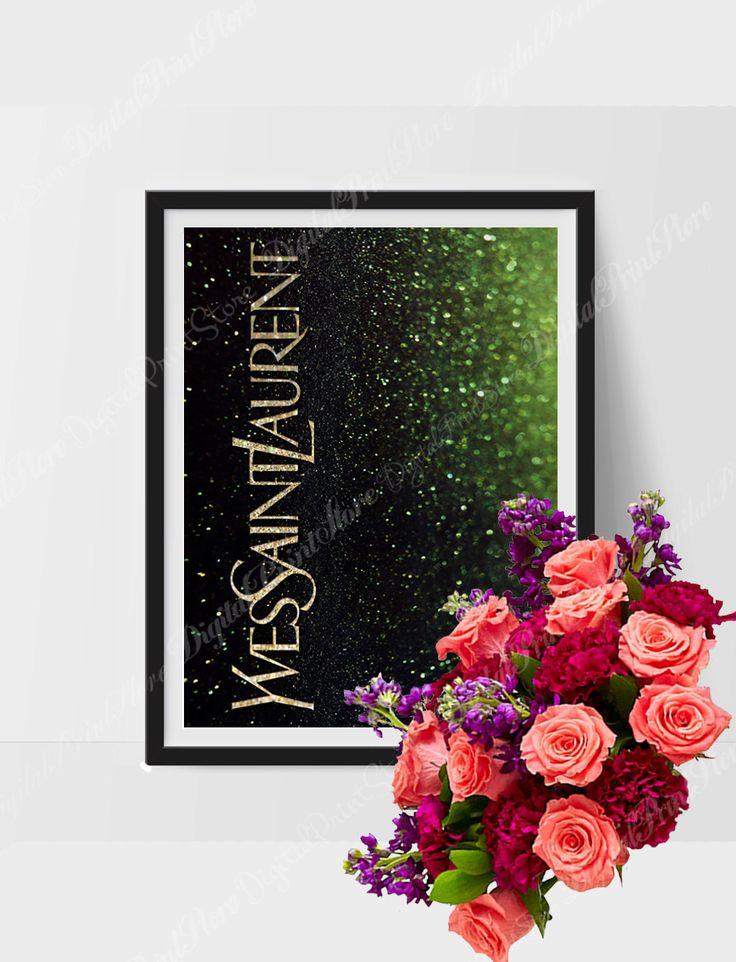 Yves Saint Laurent Gold Glitter Printable YSL Wall Art Eternal Yves Saint Laurent Fashion Illustration YSL Fashion Poster YSL Print Digital by DigitalPrintStore on #Etsy #gift #yvs #yvessaintlaurent