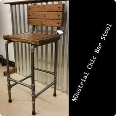 Black Steel Pipe Ndustrial Chic Bar Stool - $125. #industrialchic…