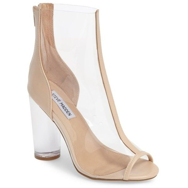 Women's Steve Madden Portal Clear Peep Toe Bootie (175 AUD) ❤ liked on Polyvore featuring shoes, boots, ankle booties, nude, peep-toe boots, clear boots, nude boots, steve madden booties and short boots