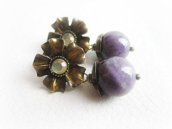 Purple amethyst earrings gemstone flower stud by MalinaCapricciosa