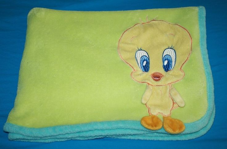 Baby Looney Tunes Tweety Bird Blanket 3d arm Green Blue edge trim soft Comforter #BabyLooneyTunes #TweetyBird #BabyTweety