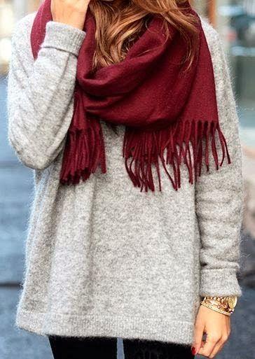Burgundy scarf, grey sweater, black leggings, hunter boots