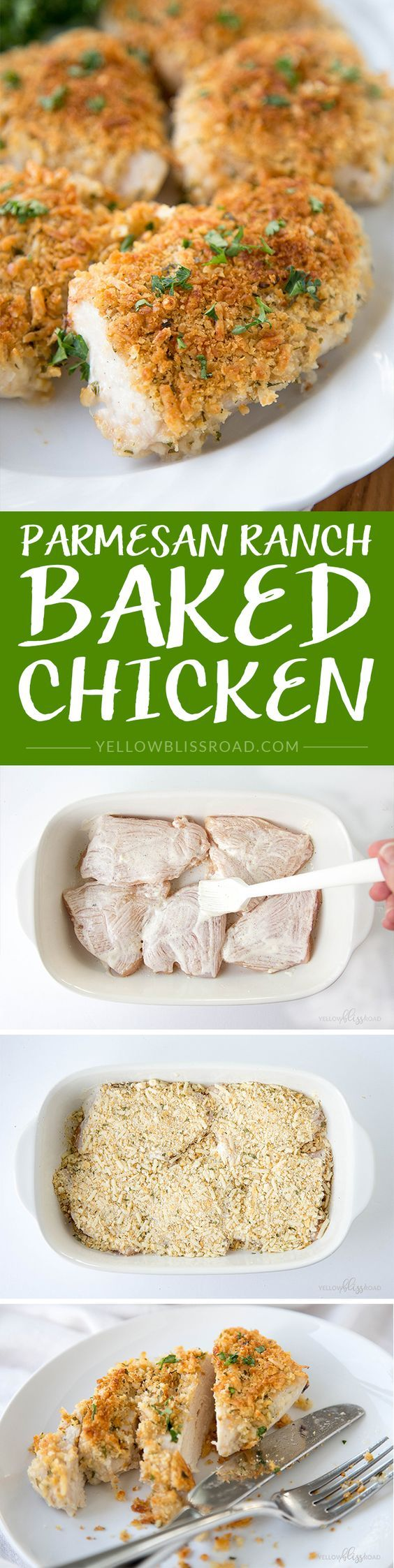 Parmesan Ranch Baked Chicken - Tender and juicy chicken breast dipped in ranch and topped with freshly grated Parmesan cheese and crushed crackers.