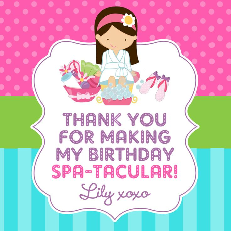 Thank you tag - Pamper party
