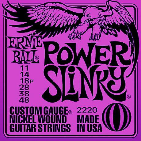 Ernie Ball 2220 Power Slinky - Jeu de 6 cordes pour guitare électrique, adapté pour du drop tuning. Ces cordes sont utilisées par Slash, Buddy Guy, Pete Townshend (The Who), Metallica et Iron Maiden.
