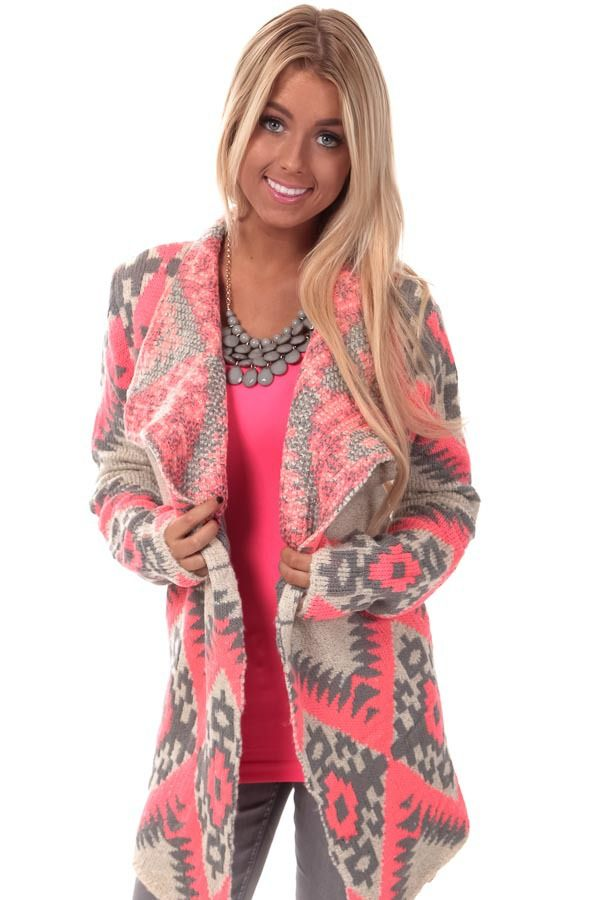 Lime Lush Boutique - Grey and Coral Tribal Print Cardigan, $54.99 (http://www.limelush.com/grey-and-coral-tribal-print-cardigan/)