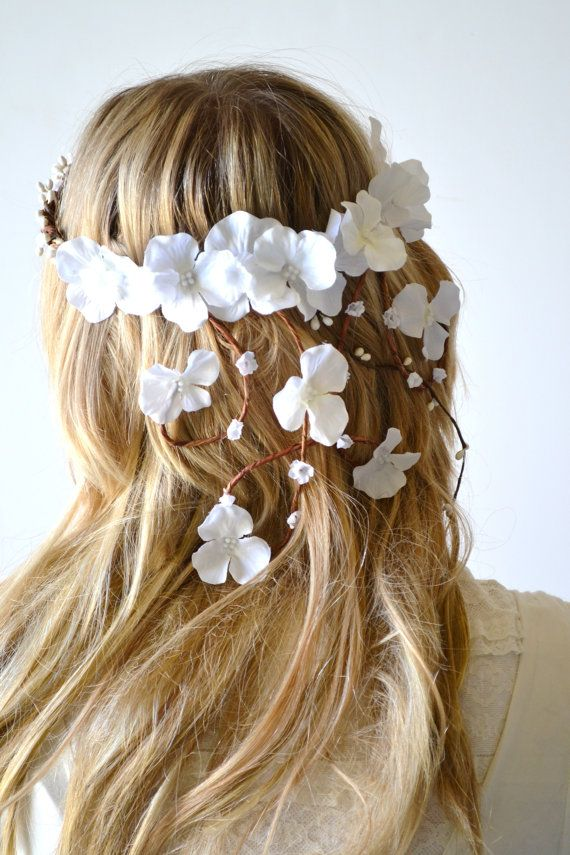 Bridal crown flower head wreath wedding hair by hazelfaire on Etsy, $70.00