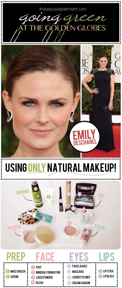 Natural makeup has come a long way, baby! How @Amy Nadine Clement used only natural makeup on Emily for the Globes!