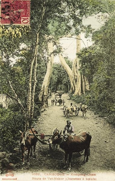 "Kompong-Cham, Ox carts on the road to Vat-Nokor, 1906 - ""Picture Postcards of Cambodia 1900-1950"" by Joel G. Montague."