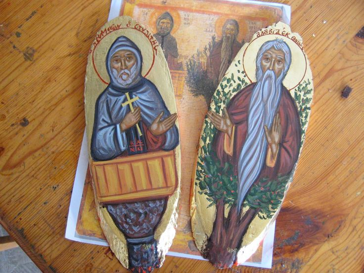 Contemporary icon St Symeon the Stylite and St David from Thessalonica the Tree Dweller (Dendrite)