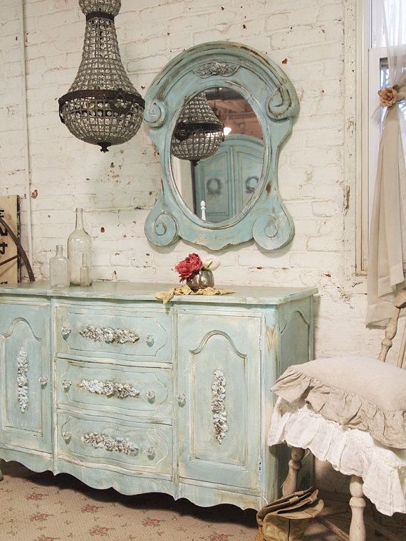 Painted Cottage Chic Shabby Aqua Mirror MR266 by paintedcottages, $215.00