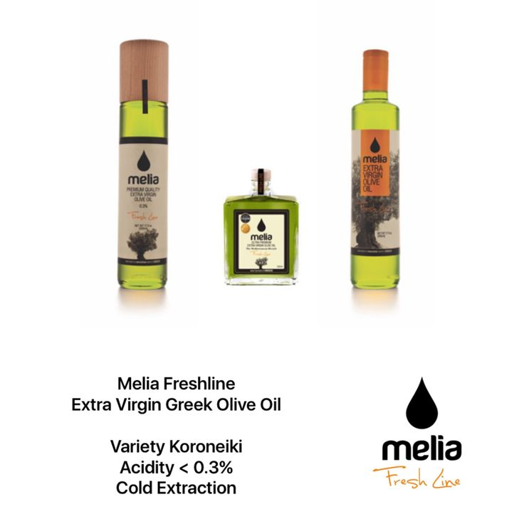 Melia Freshline Extra Virgin Olive Oil  >  Our own production in Kalamata, Greece, produced and manufactured by Melia and imported and distributed in Canada is an extra virgin olive oil of 0.3%-0.5% acidity.  >  Our Packaging: 1) Extra Virgin Olive Oil Deluxe: Glass Bottle 200ml, 2) Premium Extra Virgin Olive Oil Glass: Glass Bottle 500ml, 3) Extra Virgin Olive Oil Orange: Glass Bottle 500ml, 4) Extra Virgin Olive Oil Bulk Package: Pet Bottles of 5lt and 3lt.