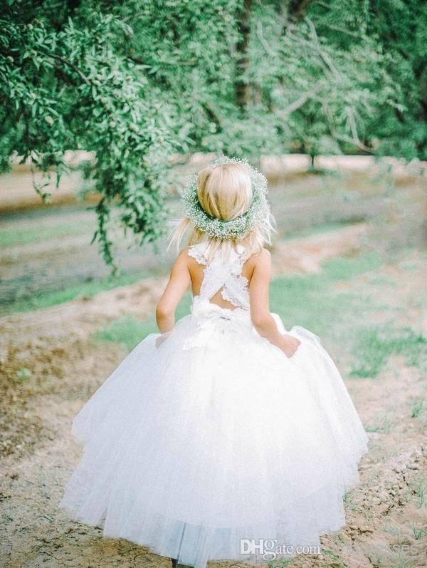 2014 Latest Bespoke Couture Flower Girl Dresses Strapless Criss Cross Lace Back Tulle Feathery Ruffles Floor Length Ball Gown Girl's Dress Online with $67.02/Piece on Firstdresses's Store | DHgate.com