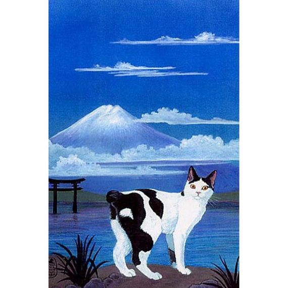 Chat Bobtail japonais impression de ma peinture par EYEDEAS sur Etsy