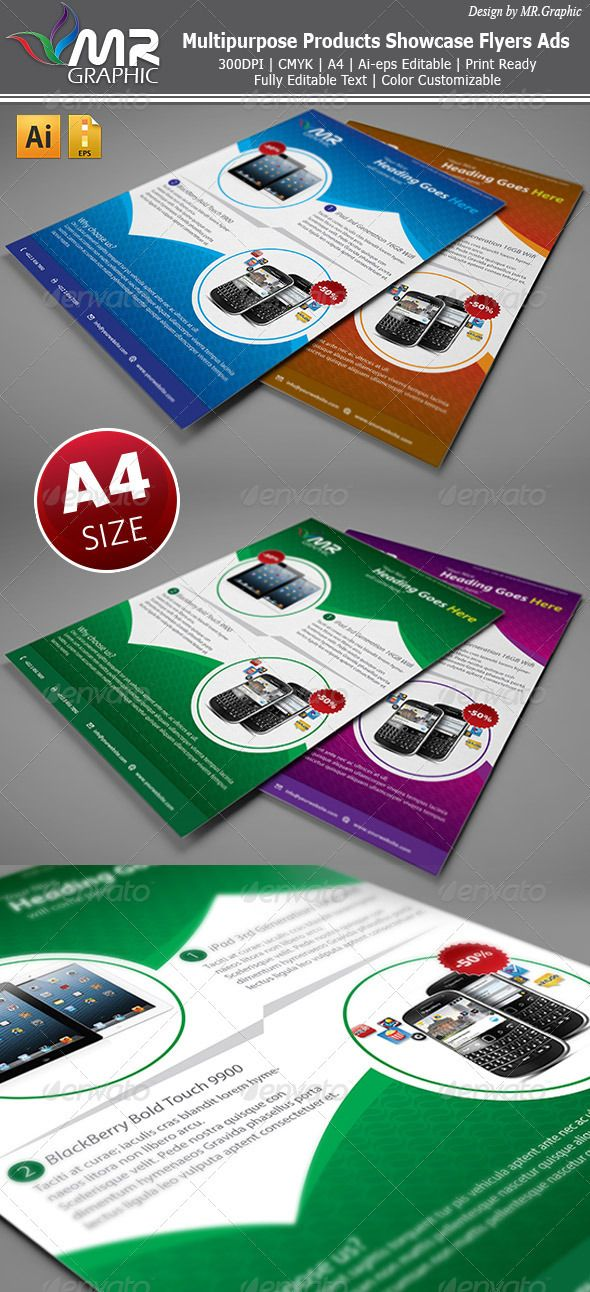 Multipurpose Products Showcase Flyer  #GraphicRiver         5 Colors Include Single AI eps ad Ai cs5 Change Color Easily  	 Fully Editable Ai, 300DPI CMYK print Ready. Text/Font or Color can be altered as needed. All Image are in vector format, so can customize easily.  	 Fonts used, Arial, Verdana  	 *Please see the Screenshoots to complete view with picture Image & Texts.     Created: 31October12 GraphicsFilesIncluded: VectorEPS #AIIllustrator Layered: Yes MinimumAdobeCSVersion: CS5…