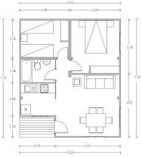 Planos Casas de Madera Prefabricadas: Planos Bungalows 40 a 70 m2