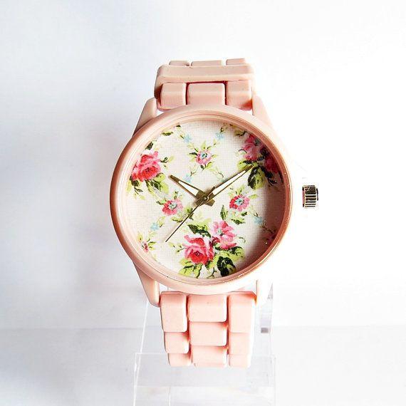 Pretty in Pink Spring Floral Watch, Women Watches, Fashion Watch, Boyfriend watch, Limited