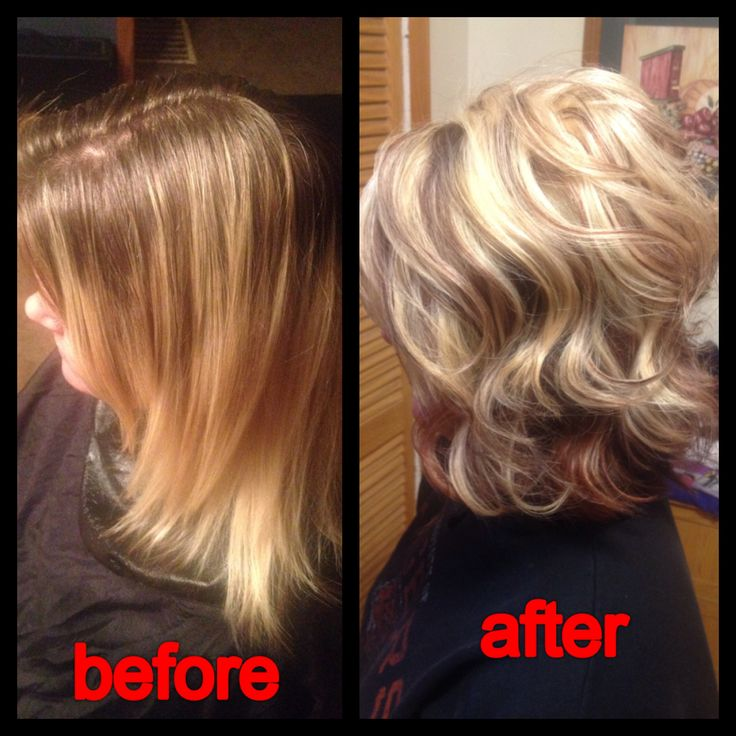 Before had about 3 inches of roots with a brassy blonde but now a bleach blonde highlight with an auburn lowlight styled with a curling iron. Hair by Ryan Austin Schneider