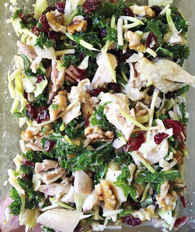 Cranberry Kale Salad:: •1 cup of precooked chicken (I used leftover roasted chicken) •Large handful of Sweet Kale Salad- salad only (bagged from Costco. Probably 2-3 cups. You could just use shredded kale and broccoli slaw if you don't have access to Costco.) •1/2 cup of dried cranberries •1/2 cup chopped nuts (use your favorite- I like walnuts.) # Dressing: •Juice from half of an orange •2 tablespoons avocado ...