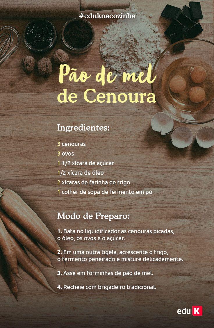 Quer coisa mais deliciosa e saborosa do que uma receita de pão de mel de cenoura? Maravilhoso! Aprenda mais receitas na eduK!