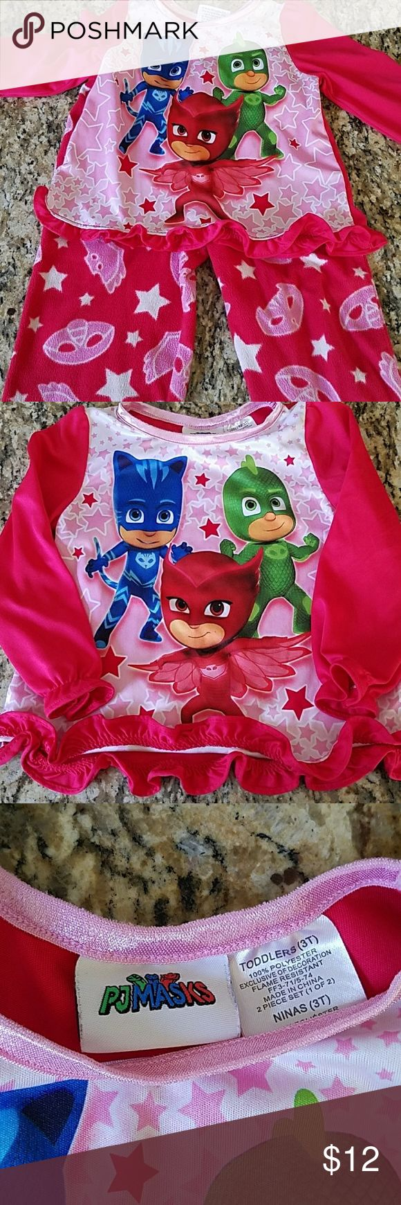 PJ Masks pajamas!!! Fleece pants, long sleeve top. Keeps warm at night PJ masks Pajamas
