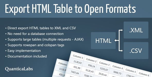 Export HTML Table to Open Formats is a collection of classes written in PHP (5.x) and JavaScript which allows to export of HTML tables into open formats such as XML or CSV files without any database.