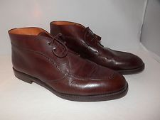 MEZLAN Prato CHUKKA ANKLE BOOTS BROWN CALFSKIN LEATHER 11.5 M Vibram Sole
