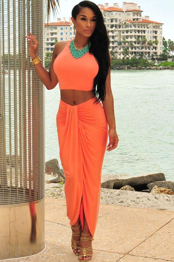 Orange Cascading Two Piece Skirt Set