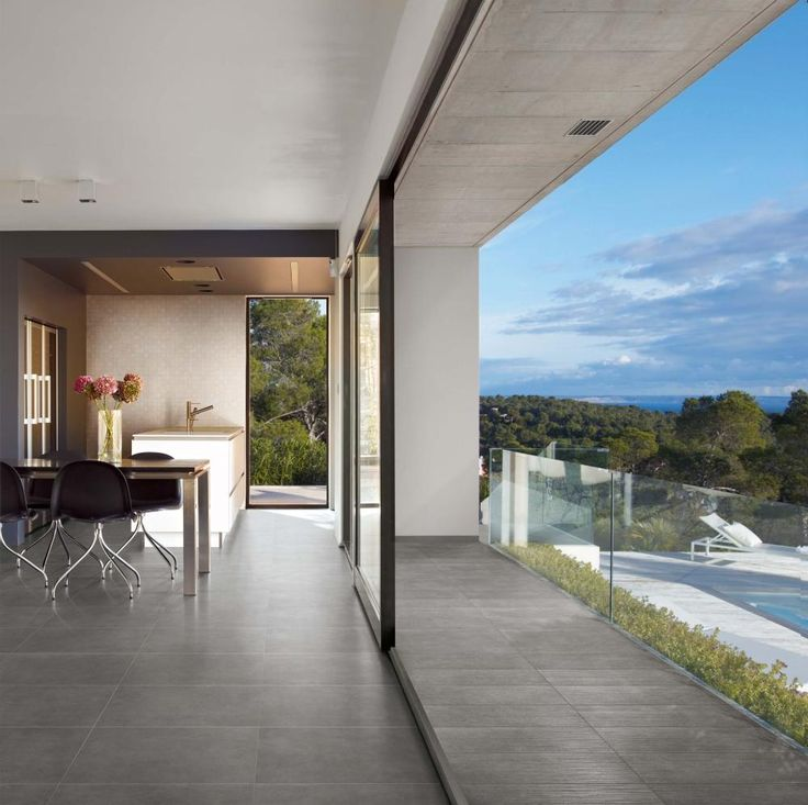 Nice clean grey indoor outdoor floor.