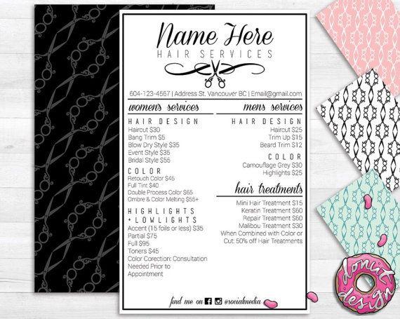 Hair salon service menu printable custom template for Cosmetology portfolio template