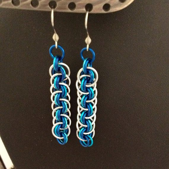 Viper basket weave earrings in silver and two by DragonTearDesigns