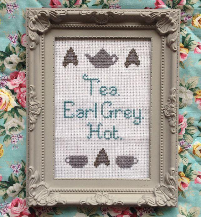 Jean-Luc Picard's favourite drink. Tea. Earl Grey. Hot.  Star Trek Cross Stitch, by Penelope Teapot on Folksy, £15.00