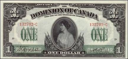 1917 Canadian bank note with image of Princess Patricia of Connaught ( later Lady Ramsey) Her father the Duke of Connaught had been Governor General of Canada, and she was Colonel -in-Chief of Princess Patricia's Canadian Light Infantry......a post she held until her death despite relinquishing her royal title on marriage. Their current c-in-c is another Patricia....Countess Mountbatten, Lady Brabourne.