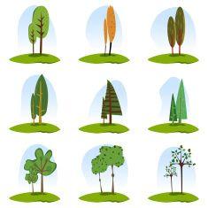 Dziewięć drzewa Zestaw ikon vector art illustration