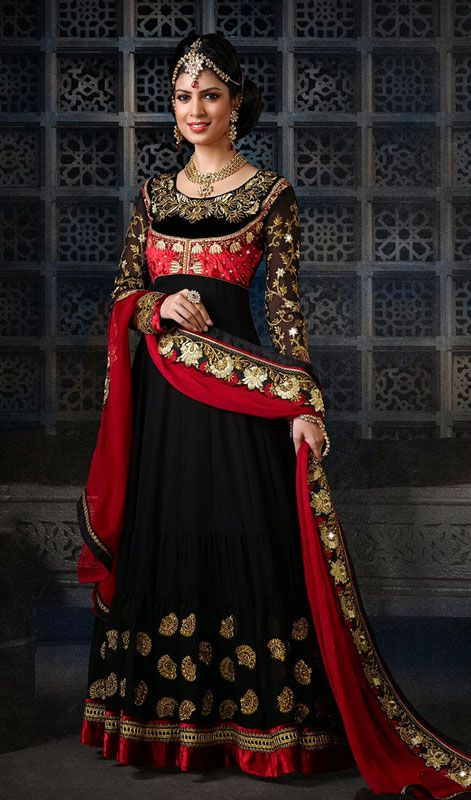 Heavy Embroidered Faux Georgette Long Length Anarkali Churidar Suit