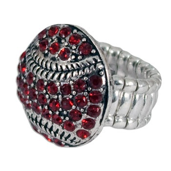 South Carolina Gamecock Crystal Baseball Stretch Ring #gamecocks #baseball