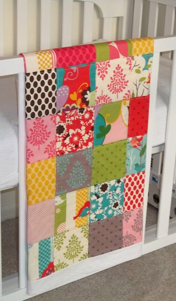 Modern Patchwork Baby Blanket Crib Blanket made with Its a Hoot Fabric Collection -  Soft flannel back via Etsy