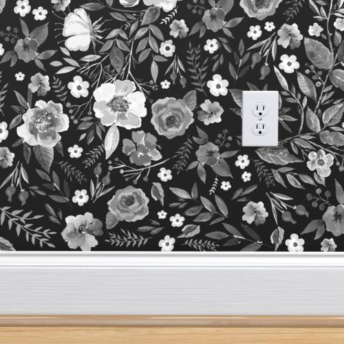 Pin By Barbara Caussey On Bathroom Redo Black Floral Wallpaper Floral Print Wallpaper Wallpaper