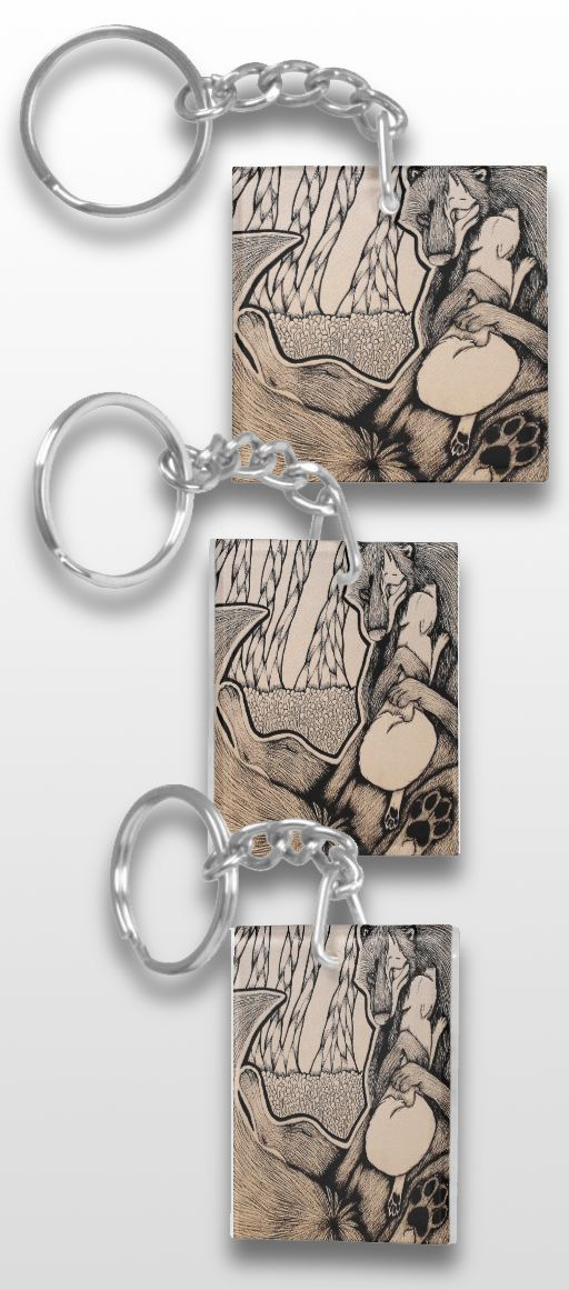 """""""Velvet"""" Black and White Illustrated Wolf Keychain #products #art #illustration #gifts"""