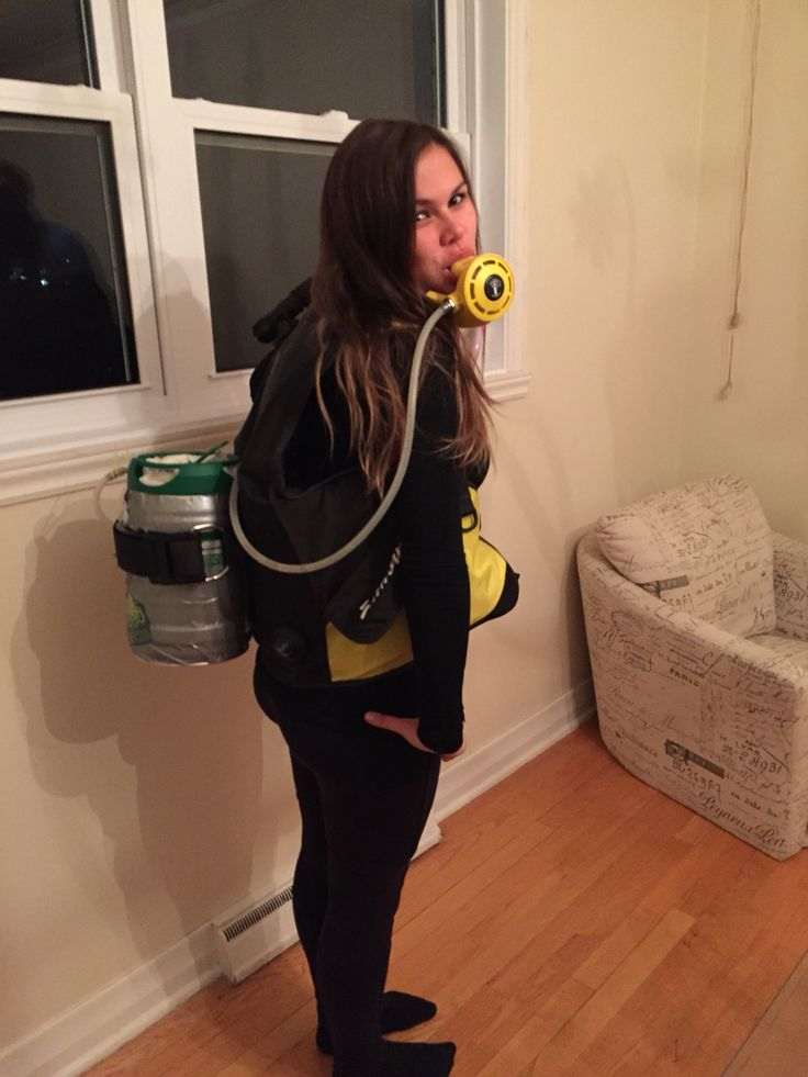 Scuba Halloween Costume With A Functional Reg Giving Beer